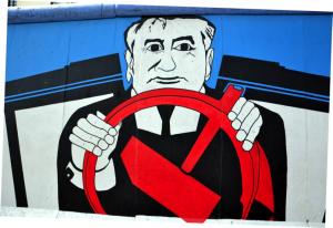 Среди граффити много политических, не обошлось и без Горби.